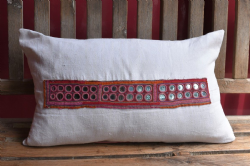 cushion made from vintage linen and antique pink and orange embroidery with mirrors